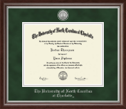 The University of North Carolina at Charlotte Diploma Frame - Silver Engraved Medallion Diploma Frame in Devonshire