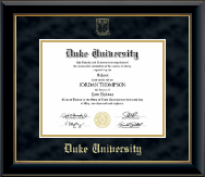 Duke University Diploma Frame - Gold Embossed Diploma Frame in Onyx Gold