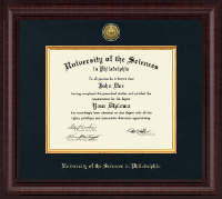 University of the Sciences in Philadelphia Diploma Frame - Presidential Gold Engraved Diploma Frame in Premier