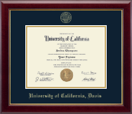 University of California Davis Diploma Frame - Gold Embossed Diploma Frame in Gallery