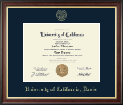 University of California Davis Diploma Frame - Gold Embossed Diploma Frame in Studio Gold