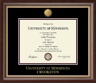 University of Minnesota Crookston Diploma Frame - 23K Medallion Diploma Frame in Hampshire