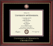 University of Minnesota Crookston Diploma Frame - Masterpiece Medallion Diploma Frame in Kensington Gold