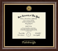 Plattsburgh State University Diploma Frame - Gold Engraved Medallion Diploma Frame in Hampshire
