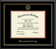 Tusculum College Diploma Frame - Gold Embossed Diploma Frame in Onyx Gold