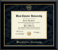 West Chester University Diploma Frame - Gold Embossed Diploma Frame in Onyx Gold