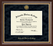 Atlantic Union College Diploma Frame - Gold Engraved Medallion Diploma Frame in Hampshire