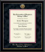 University of Virginia's College at Wise Diploma Frame - Gold Engraved Medallion Diploma Frame in Onyx Gold