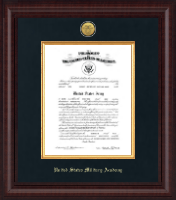 United States Military Academy Certificate Frame - Presidential Gold Engraved Commission Certificate Frame in Premier