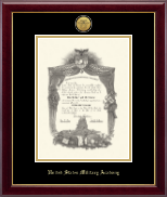 United States Military Academy Diploma Frame - Gold Engraved Medallion Diploma Frame in Gallery
