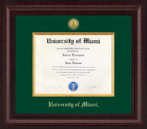 University of Miami Diploma Frame - Presidential Gold Engraved Diploma Frame in Premier