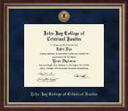 John Jay College of Criminal Justice Diploma Frame - Gold Engraved Medallion Diploma Frame in Hampshire