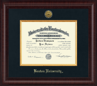 Boston University Diploma Frame - Presidential Gold Engraved Diploma Frame in Premier