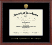University of Massachusetts Medical School at Worcester Diploma Frame - Gold Engraved Medallion Diploma Frame in Signature