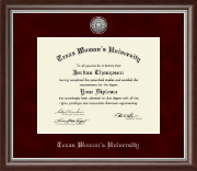 Texas Woman's University Diploma Frame - Silver Engraved Medallion Diploma Frame in Devonshire