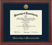 University of Massachusetts Lowell Diploma Frame - Gold Engraved Medallion Diploma Frame in Signature