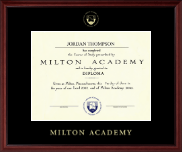 Milton Academy Diploma Frame - Gold Embossed Diploma Frame in Camby