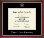 Emporia State University Diploma Frame - Silver Embossed Diploma Frame in Kensington Silver