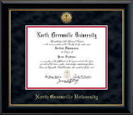 North Greenville University Diploma Frame - Gold Engraved Medallion Diploma Frame in Onyx Gold