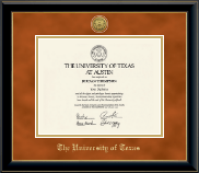 The University of Texas Austin Diploma Frame - Gold Engraved Medallion Diploma Frame in Onyx Gold