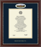 Rice University Diploma Frame - Campus Cameo Diploma Frame in Chateau