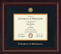 University of Minnesota Twin Cities Diploma Frame - Presidential Gold Engraved Diploma Frame in Premier