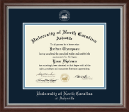 University of North Carolina Asheville Diploma Frame - Silver Embossed Diploma Frame in Devonshire