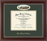 Pine Manor College Diploma Frame - Campus Cameo Diploma Frame in Chateau