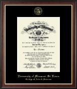 University of Missouri Saint Louis Diploma Frame - Gold Embossed Diploma Frame in Studio Gold