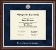 Georgetown University Diploma Frame - Silver Engraved Medallion Diploma Frame in Devonshire