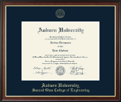 Auburn University Diploma Frame - Gold Embossed Diploma Frame in Studio Gold