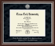 Texas Tech University Health Sciences Center Diploma Frame - Silver Engraved Medallion Diploma Frame in Devonshire