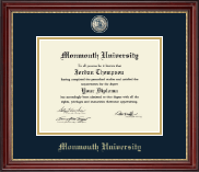 Monmouth University Diploma Frame - Masterpiece Medallion Diploma Frame in Kensington Gold