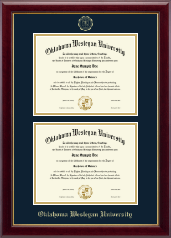 Oklahoma Wesleyan University Diploma Frame - Double Diploma Frame in Gallery