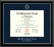 The University of Texas Arlington (UTA) Diploma Frame - Silver Embossed Diploma Frame in Onyx Silver