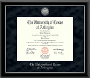 The University of Texas Arlington (UTA) Diploma Frame - Silver Engraved Medallion Diploma Frame in Onyx Silver