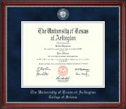 The University of Texas Arlington (UTA) Diploma Frame - Masterpiece Medallion Diploma Frame in Kensington Silver