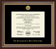 Pennsylvania State University Diploma Frame - Gold Engraved Medallion Diploma Frame in Hampshire
