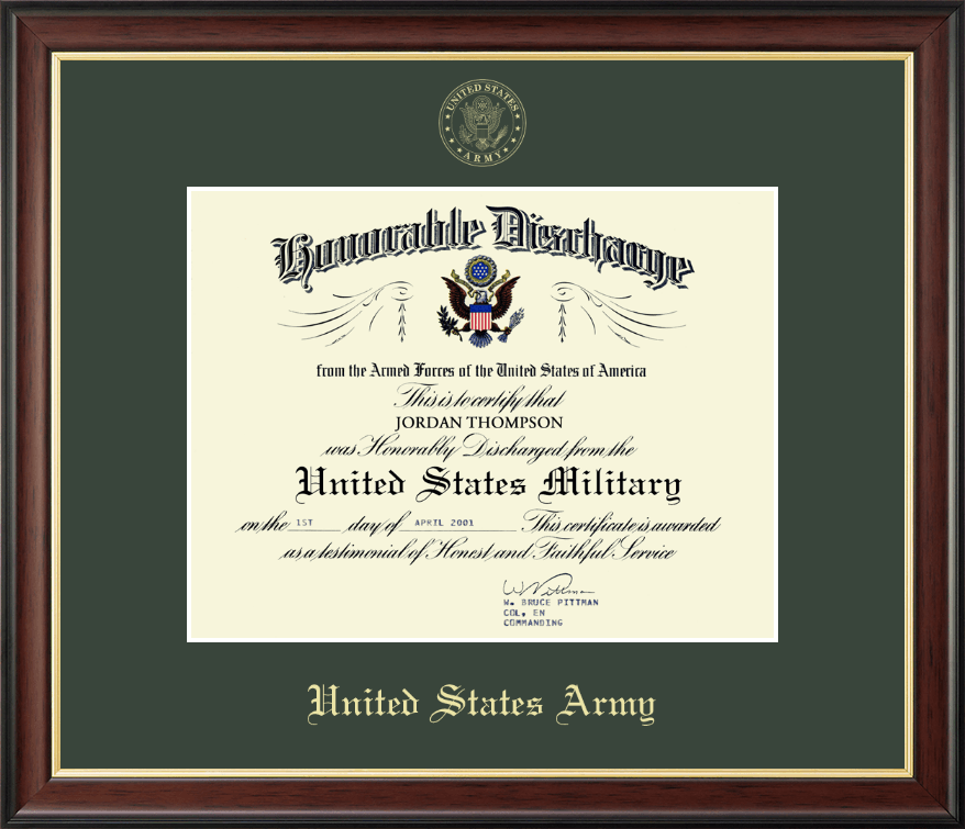 United States Army Us Army Honorable Discharge Certificate