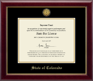 State of Colorado Certificate Frame - Gold Engraved Medallion Certificate Frame in Gallery