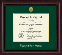 Vermont Law School Diploma Frame - Presidential Gold Engraved Diploma Frame in Premier