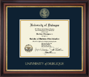 University of Dubuque Diploma Frame - Gold Embossed Diploma Frame in Regency Gold