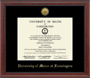 University of Maine Farmington Diploma Frame - Gold Engraved Medallion Diploma Frame in Signature