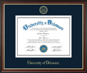 University of Delaware Diploma Frame - Gold Embossed Diploma Frame in Studio Gold