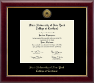 State University of New York Cortland Diploma Frame - Gold Engraved Medallion Diploma Frame in Gallery