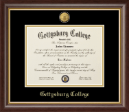 Gettysburg College Diploma Frame - 23K Medallion Diploma Frame in Hampshire