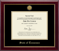 State of Tennessee Certificate Frame - Gold Engraved Medallion Certificate Frame in Gallery