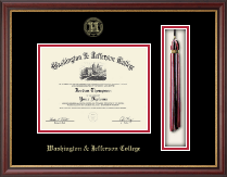 Washington & Jefferson College Diploma Frame - Gold Embossed Tassel Diploma Frame in Newport
