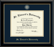 St. Edward's University Diploma Frame - Masterpiece Medallion Diploma Frame in Onyx Gold