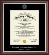 University of Missouri Kansas City Diploma Frame - Silver Embossed Diploma Frame in Devonshire